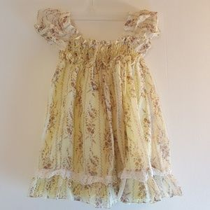 Other - Vintage Girls Dress Yellow Floral Size 5 Ruffle